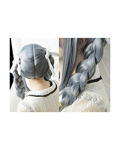 ANOGOL Gray Double Braids Cosplay Wig Long Wig with Bangs