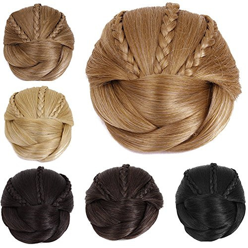 Better-Home Braided Hair Bun Extensions Synthetic Clip-on