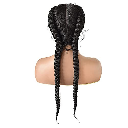 FACE MIRACLE Lace Braided Wigs Hand Swiss Lace Front Natural