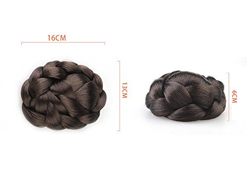 Remeehi Braided Updo Hair Extensions Clip in/on Costume Bun