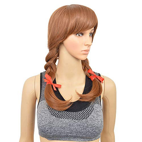 SiYi Movie Halloween Cosplay Wigs With Braid and Bangs Brown